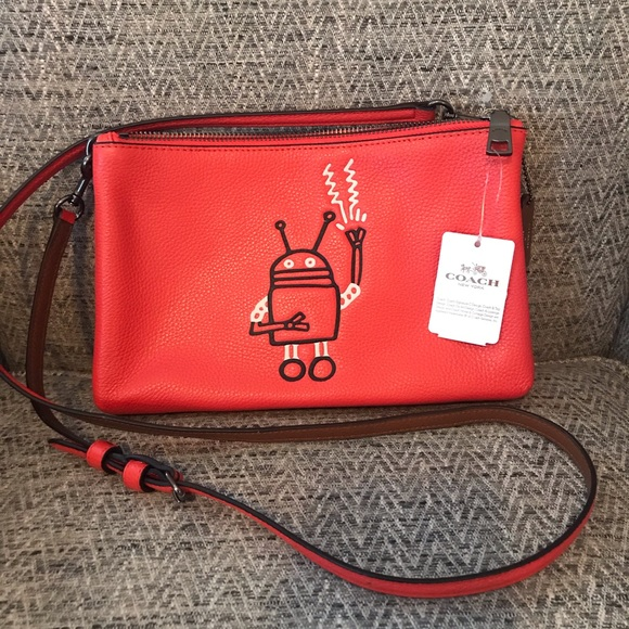 ce9dbe85 Coach x Keith Haring Lmt Edit Double Zip Crossbody NWT